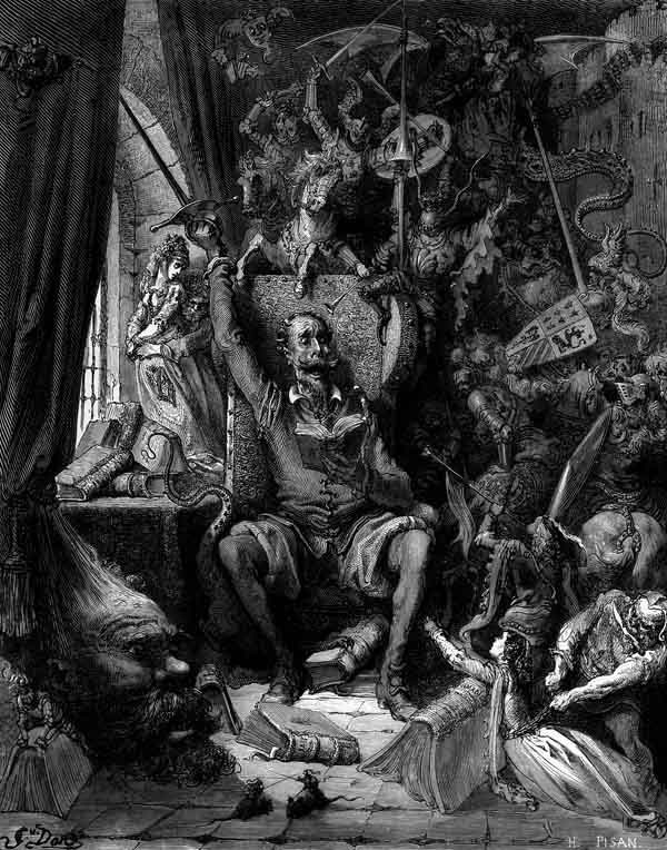Don Quixote. Book illustration by Gustave Doré, 1863.