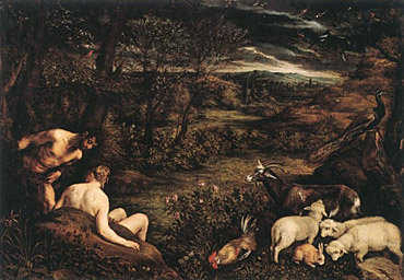 The garden of Eden. Painting by Jacopo Bassano, 1573.