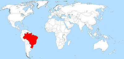 Present day Brazil on the world map.
