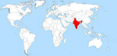 Present-day India on the world map.